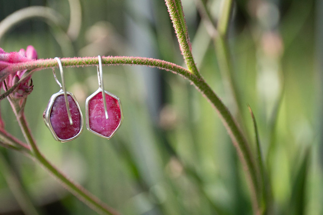 Gorgeous Raw Genuine Ruby Earrings set in Sterling Silver Edge Setting - Raw Ruby Gemstone - Rough Ruby Earrings
