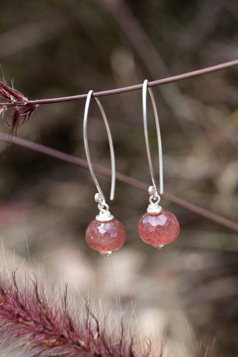 Handmade Faceted Cherry or Strawberry Quartz Earrings with Long Thai Hill Tribe Silver Hooks - Gemstone Jewellery - Cherry Quartz Jewelry