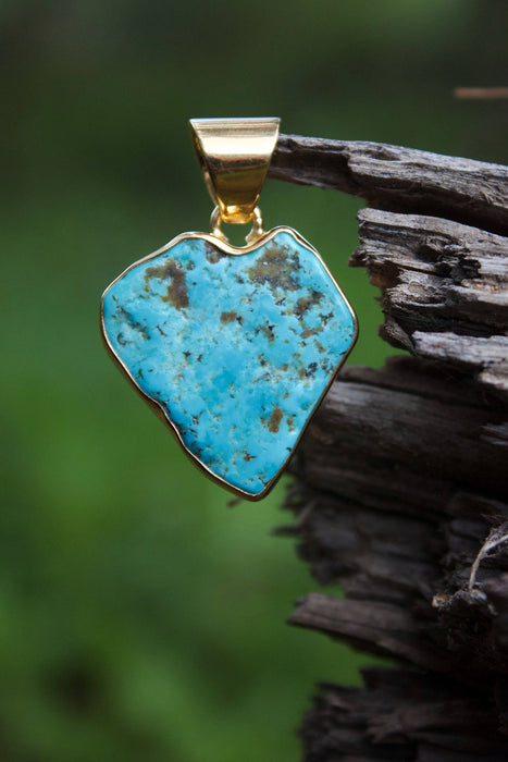 Gold Plated Genuine Raw Sleeping Beauty Turquoise Pendant in Love Heart Shape - Heart Shaped Pendant - Gold Plated Sterling Silver