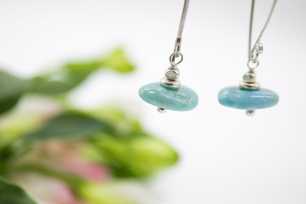 High Quality Handmade Larimar Earrings with Long Thai Hill Tribe Silver Hooks - Larimar Jewellery - Dolphin Stone Earrings - Beaded Gemstone