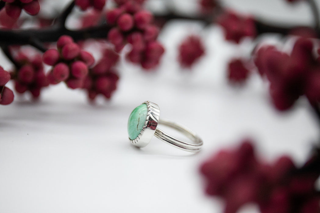 Sweet Round Variscite Ring in Unique Sterling Silver Setting - Size 7 US - Gemstone Jewelry - Variscite Jewellery - Green Stone Ring