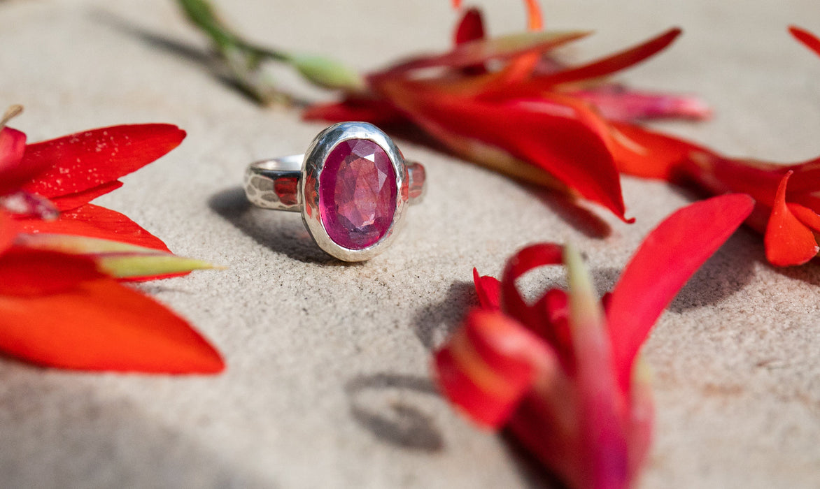Gorgeous Juicy Pink Sapphire Ring in Beaten Sterling Silver Setting - Pink Sapphire Jewellery - Gemstone Jewelry