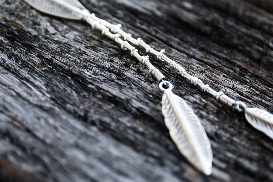 Long Thai Hill Tribe Silver Beaded Necklace with Leaves - Handmade Necklace - Pure Silver Jewelry - Thai Silver Jewellery