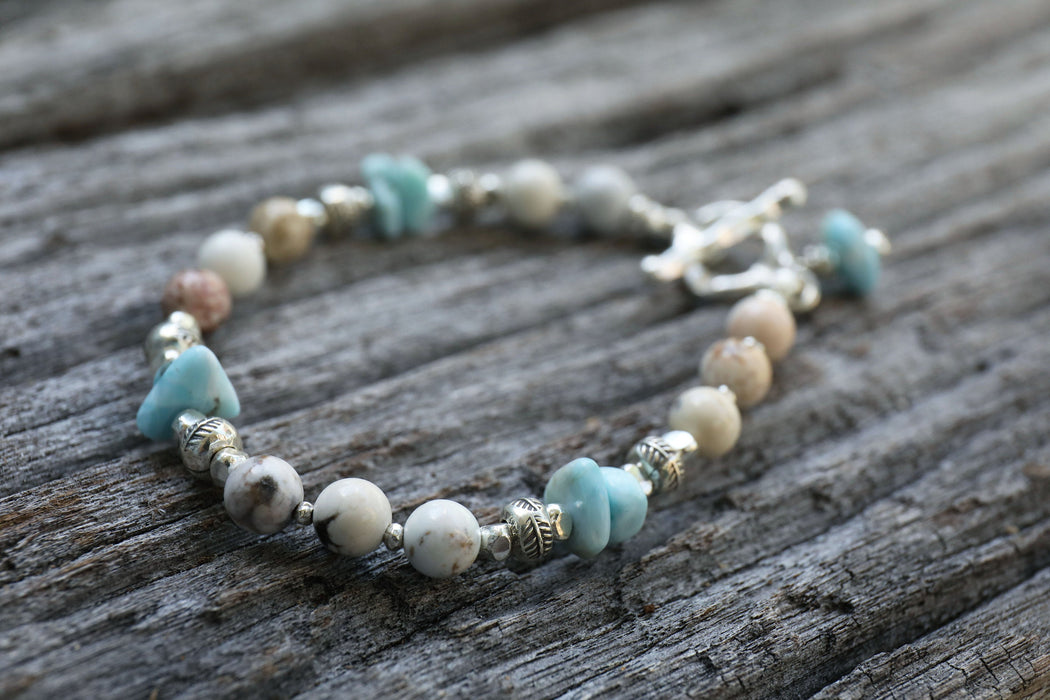 Handmade Beaded Larimar and Yellow Turquoise Bracelet with Thai Hill Tribe Silver - Beaded Gemstone Jewellery - Dolphin Stone Jewelry