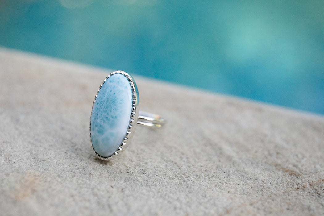 Lovely Larimar Oval Ring in Unique Sterling Silver Setting - Size 9 US - Dolphin Stone Jewellery - Pectolite Jewelry - Gemstone Ring