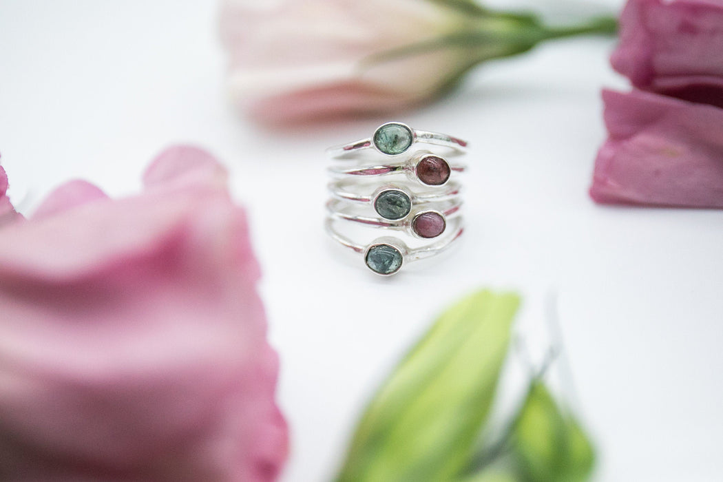 Pink and Green Multi Tourmaline Ring set in 92.5% Sterling Silver - Size 7 US - Gemstone Ring - Jewellery - Tourmaline Jewelery