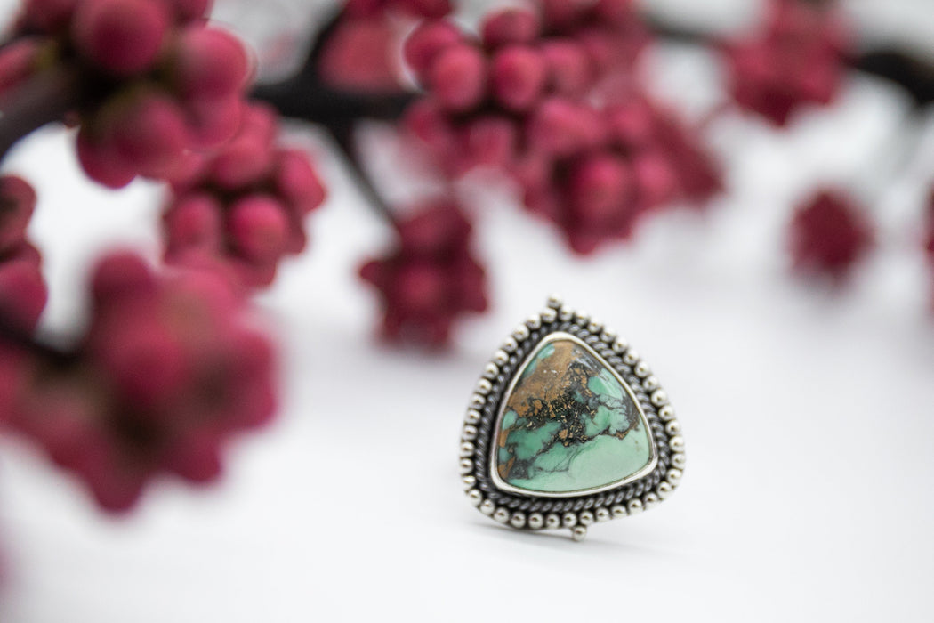 One of a Kind Variscite Ring set in Tribal Design Sterling Silver - Size 6.5 US - Jewelry - Variscite Jewellery - Green Ring