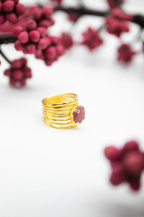 Gorgeous Raw Ruby Ring with Multi Band in Gold Plated Sterling Silver - Size 6 US - Rough Ruby Ring - Raw Gemstone Jewelry - Ruby Jewellery