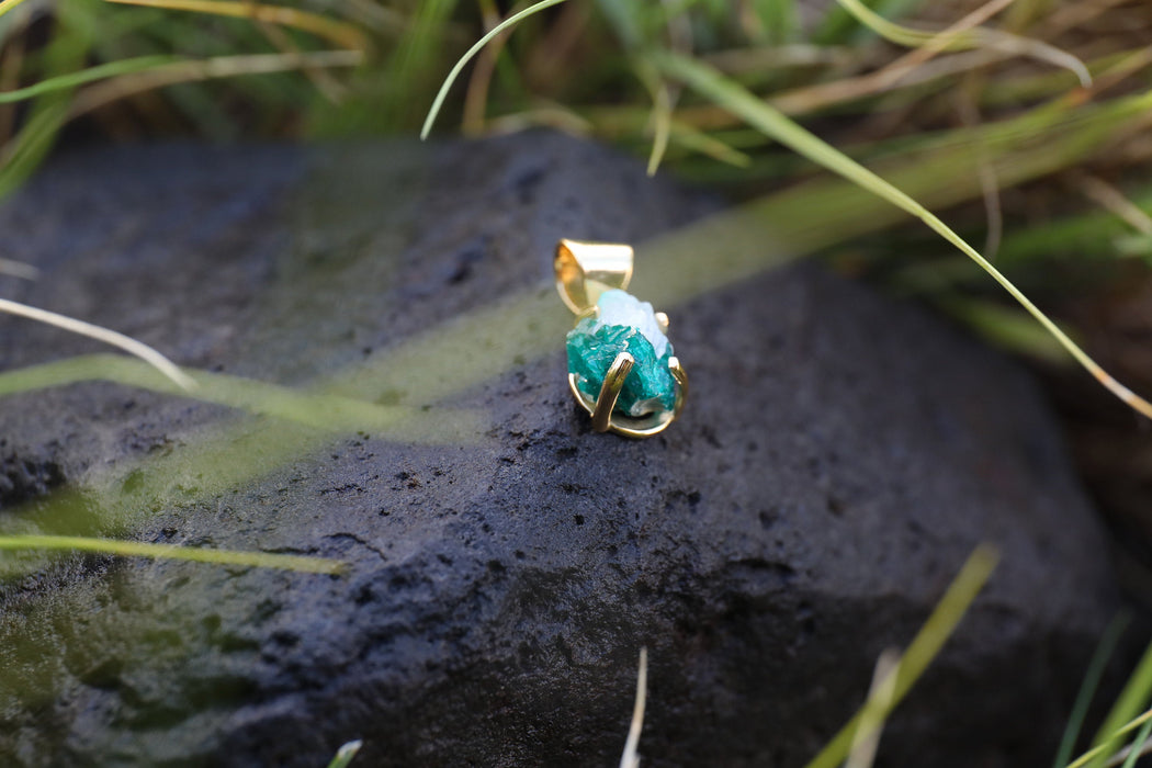 Raw Dioptase Pendant set in Gold Plated Sterling Silver Claw Setting - Rough Gemstone Pendant - Raw Dioptase Jewelry - Gemstone Jewellery