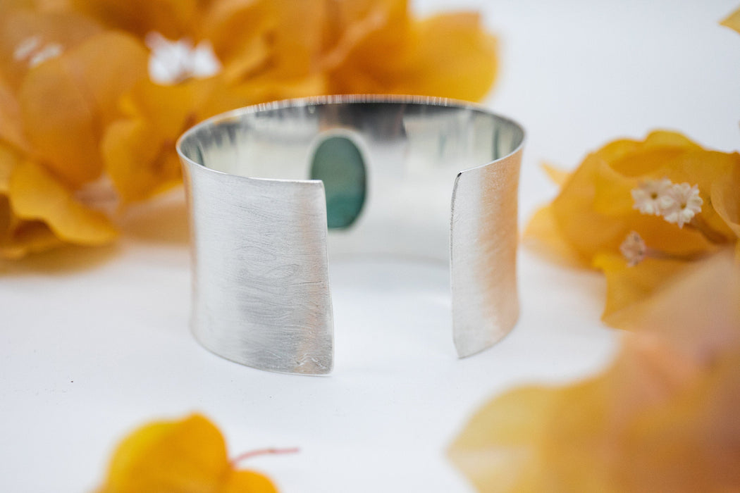 Stunning Statement Turquoise Cuff Bangle in Solid Brushed Sterling Silver - Handmade Gemstone Jewellery - Turquoise Jewelry