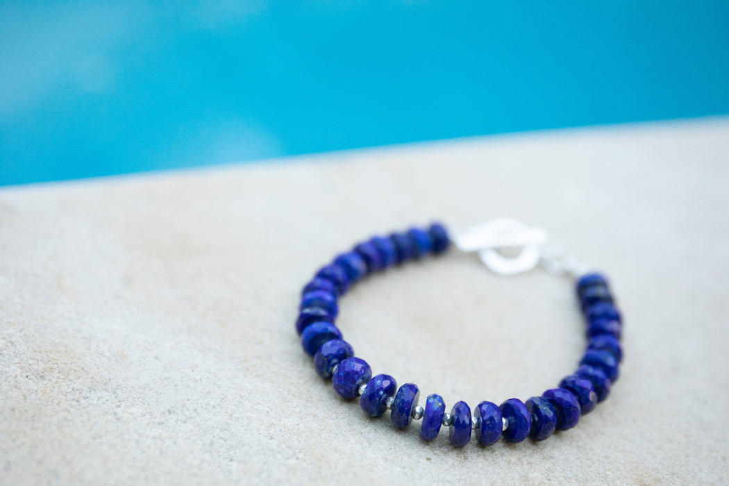 Handmade High Quality Lapis Lazuli Bracelet with Thai Hill Tribe Silver Beads and Clasp - Blue Gemstone - Gemstone jewellery