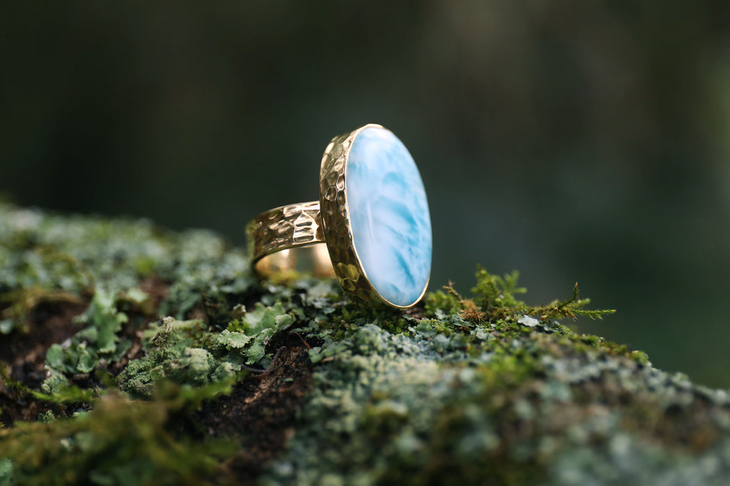 A Grade Oval Larimar Ring set in Beaten Gold Plated Sterling Silver Band - Size 9 US - Dolphin Stone Jewellery - Pectolite Jewelry