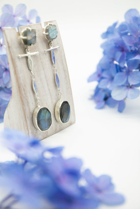 Stunning Unique Statement Faceted Labradorite Earrings in Sterling Silver - Labradorite Jewelry - Gemstone Jewellery - A+ Grade Labradorite
