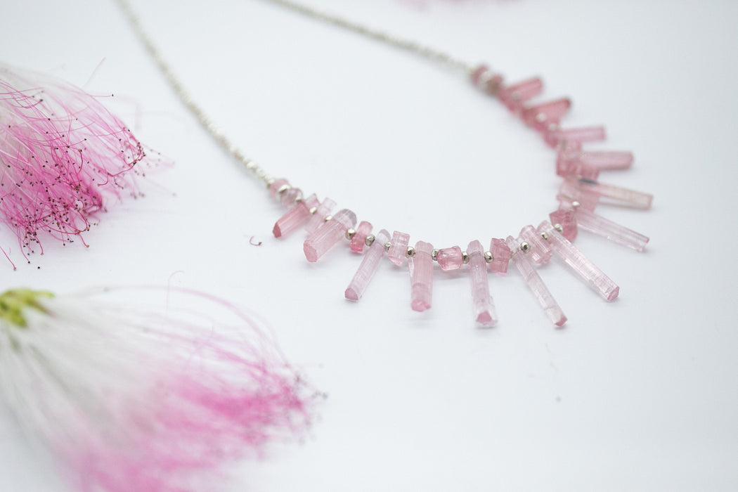 Sweet Handmade Raw Pink Tourmaline + Thai Hill Tribe Silver Necklace - Gemstone Necklace - Rough Pink Tourmaline Jewellery