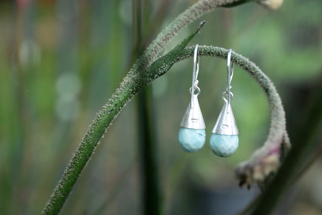 Sweet Teardrop Larimar Earrings set in Brushed Top Capped Sterling Silver - Dolphin Stone - Pectolite Jewellery - Larimar Jewellery