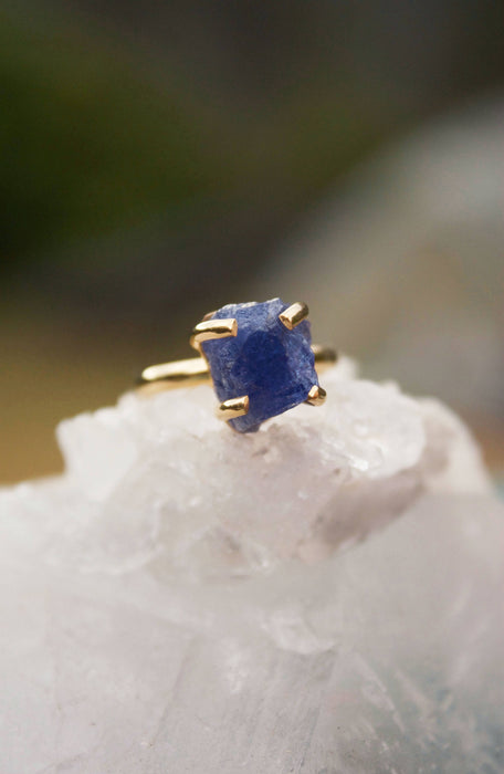 Gold Plated Raw Genuine Tanzanite Ring in Claw Setting - Size 6 US - Raw Gemstone Ring - Rough Tanzanite Jewelry