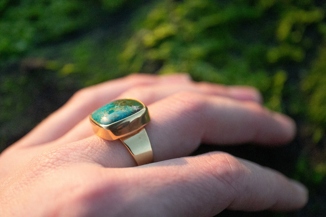 Stunning Square Chrysocolla Ring set in Gold Plated Sterling Silver with Adjustable Band - Chrysocolla Jewelry - Gemstone Ring - Ring