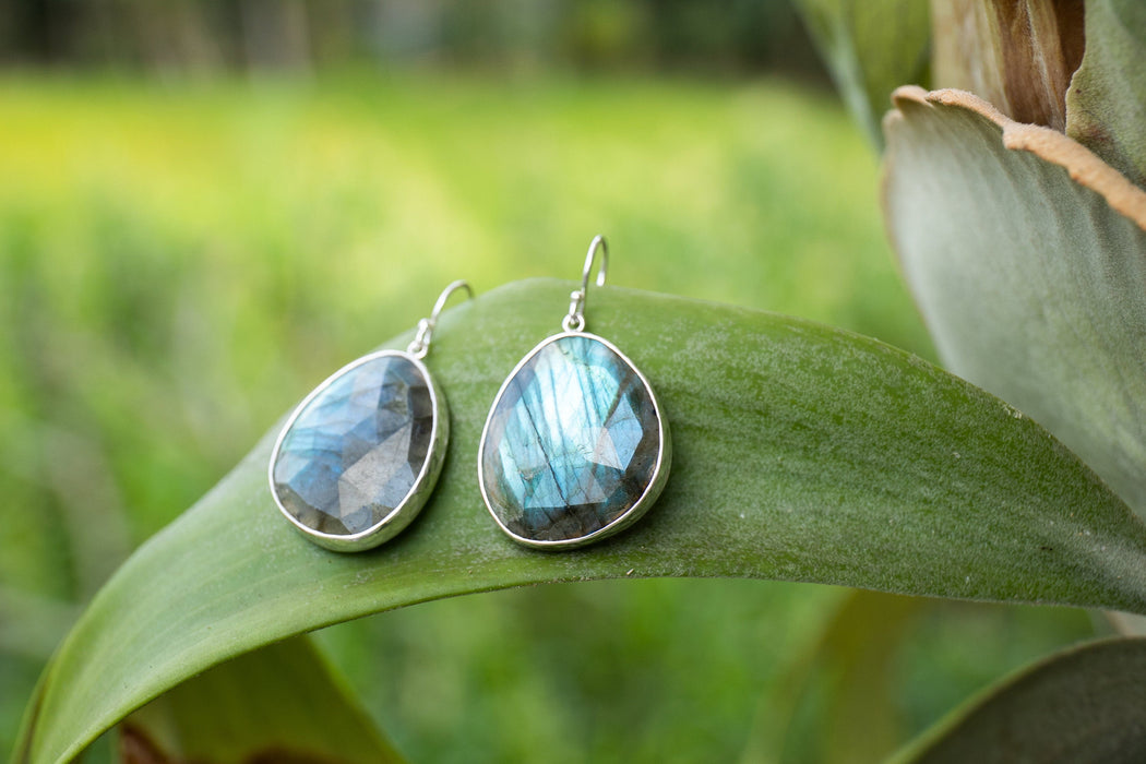 Stunning One of a Kind Faceted Large Labradorite Earrings set in Beaten Sterling Silver - Statement Earrings - Gemstone Jewelry