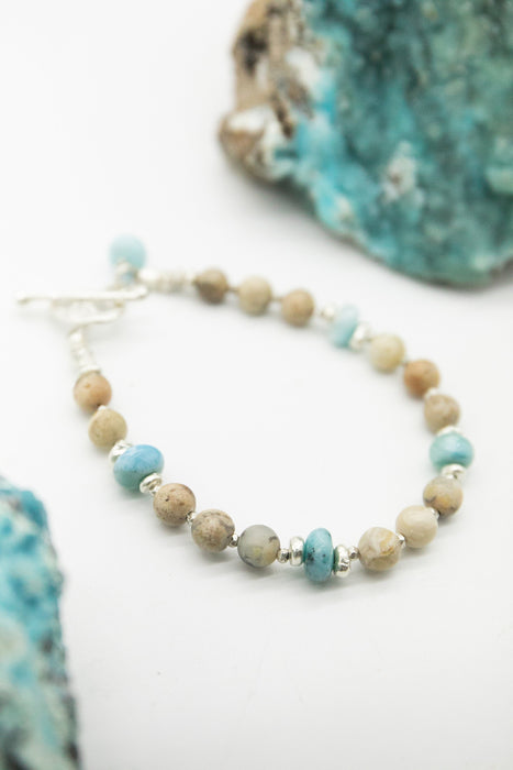Handmade Larimar and Dendritic Agate Bracelet with Thai Hill Tribe Silver Beads - Dolphin Stone Jewellery - Beaded Gemstone Jewellery