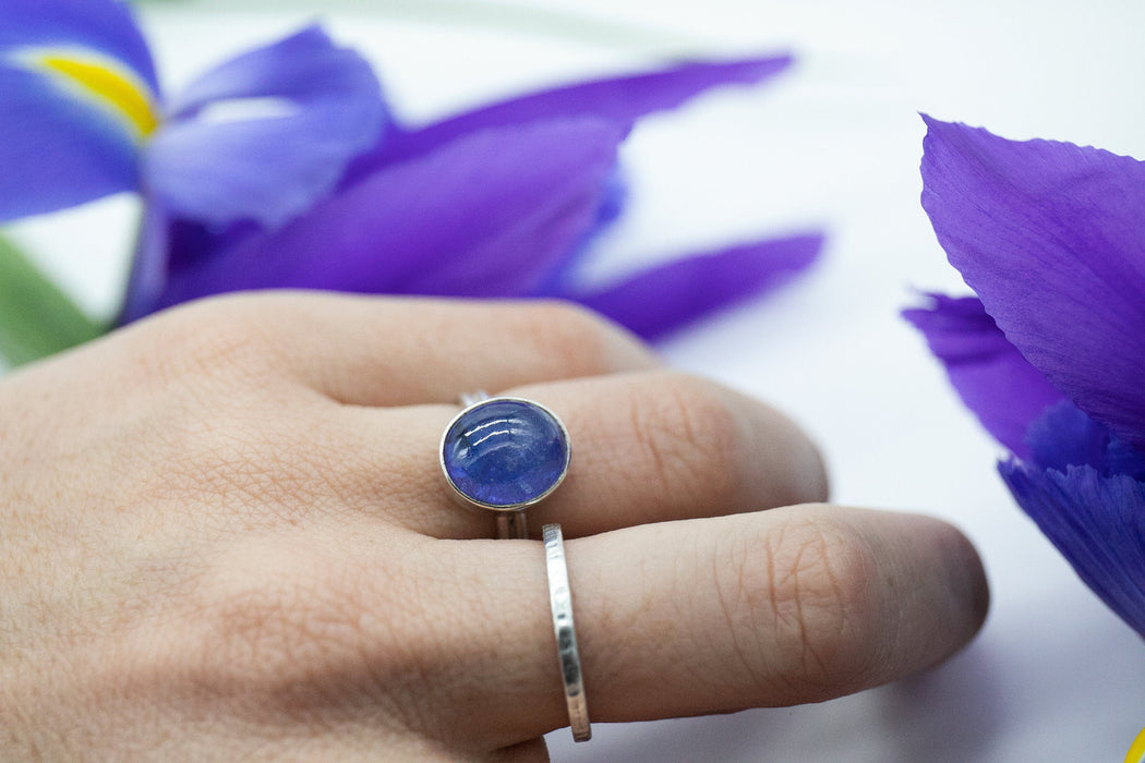 Lovely Genuine Tanzanite Ring set in Sterling Silver Band - Size 6 US - Natural Tanzanite Jewelry - Gemstone Jewellery