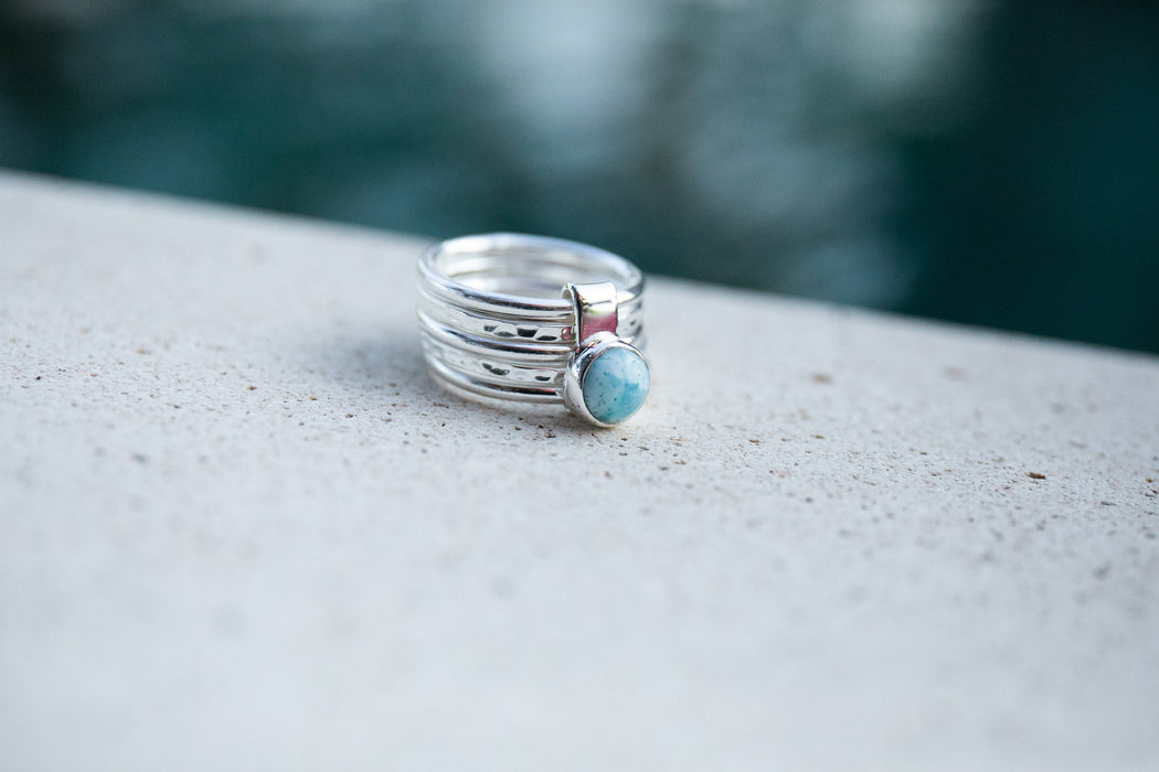 Unique Multi Band Ring with Larimar Stone Sterling Silver - Multiple Sizes - Dolphin Stone Gemstone Ring - Gemstone Jewellery
