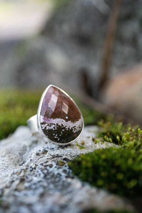 Lovely Teardrop Faceted Ocean Jasper Ring in Sterling Silver with Adjustable Band - Jasper Jewellery - Gemstone Jewelry - Statement Ring