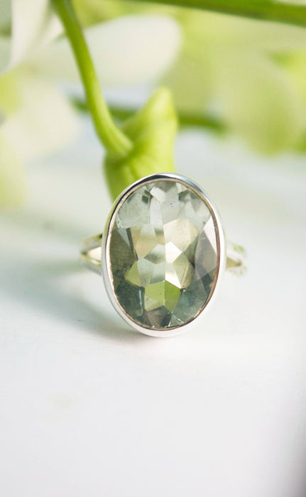 Gorgeous Faceted Green Amethyst or Prasiolite Ring with Beaten Sterling Silver Split Band - Gemstone Ring - Prasiolite Jewelry - Jewellery