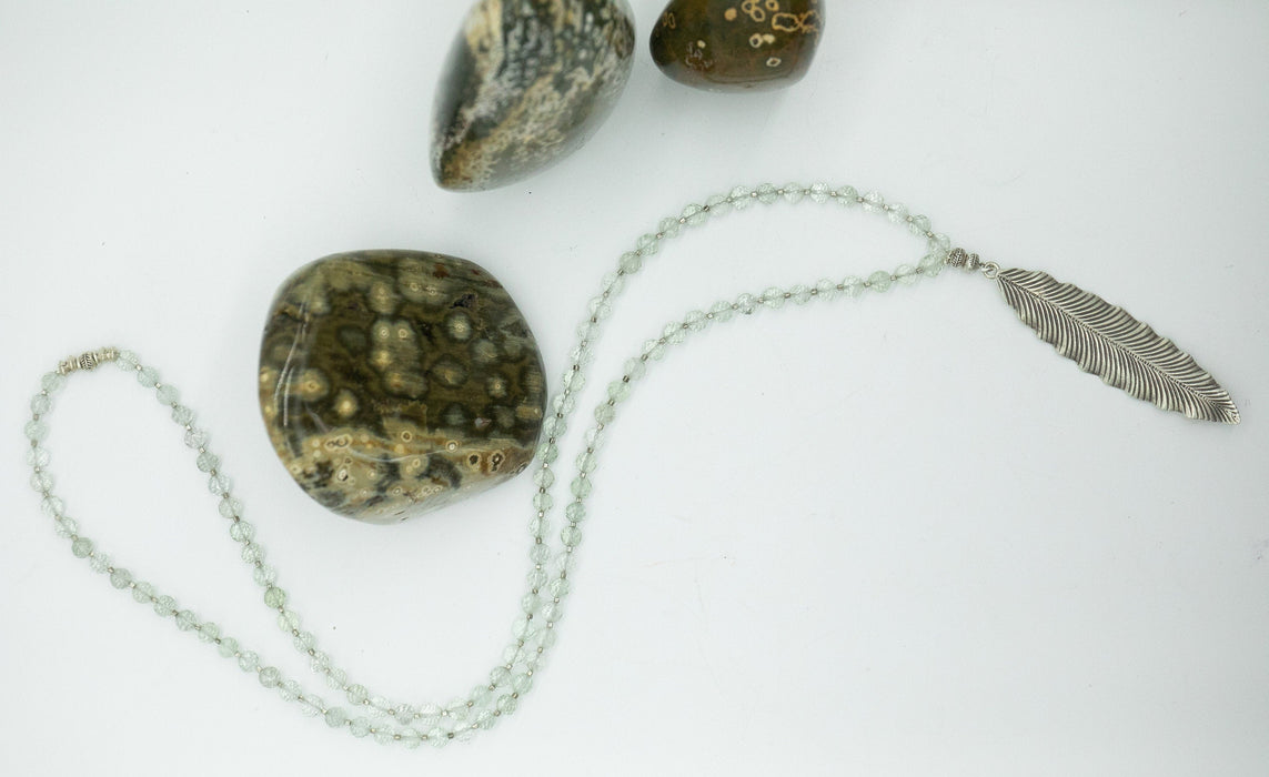Handmade Beaded Faceted Green Amethyst Necklace with Thai Hill Tribe Silver Beads and Leaf Pendant - Necklace - High Quality Gemstone
