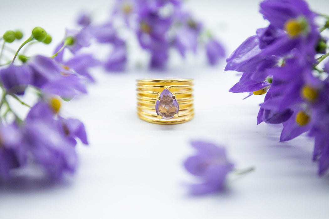 Stunning Faceted Amethyst Ring in Multi Band Gold Plated Sterling Silver Setting - Size 8 US - Gold Gemstone Ring - Gold Amethyst Ring