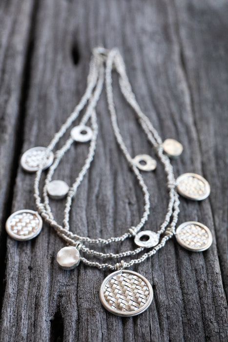 Statement Hill Tribe Silver Woven Charm Necklace - Multistrand Necklace - Statement Silver Necklace - Karen Silver Necklace