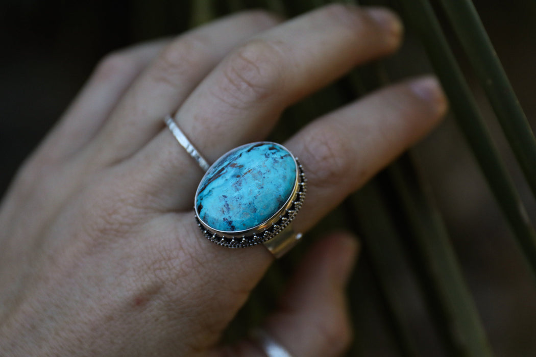 Oval Chrysocholla Ring set in Tribal Sterling Silver Design with Adjustable Style Band - Chrysocolla Ring - Gemstone Jewelry