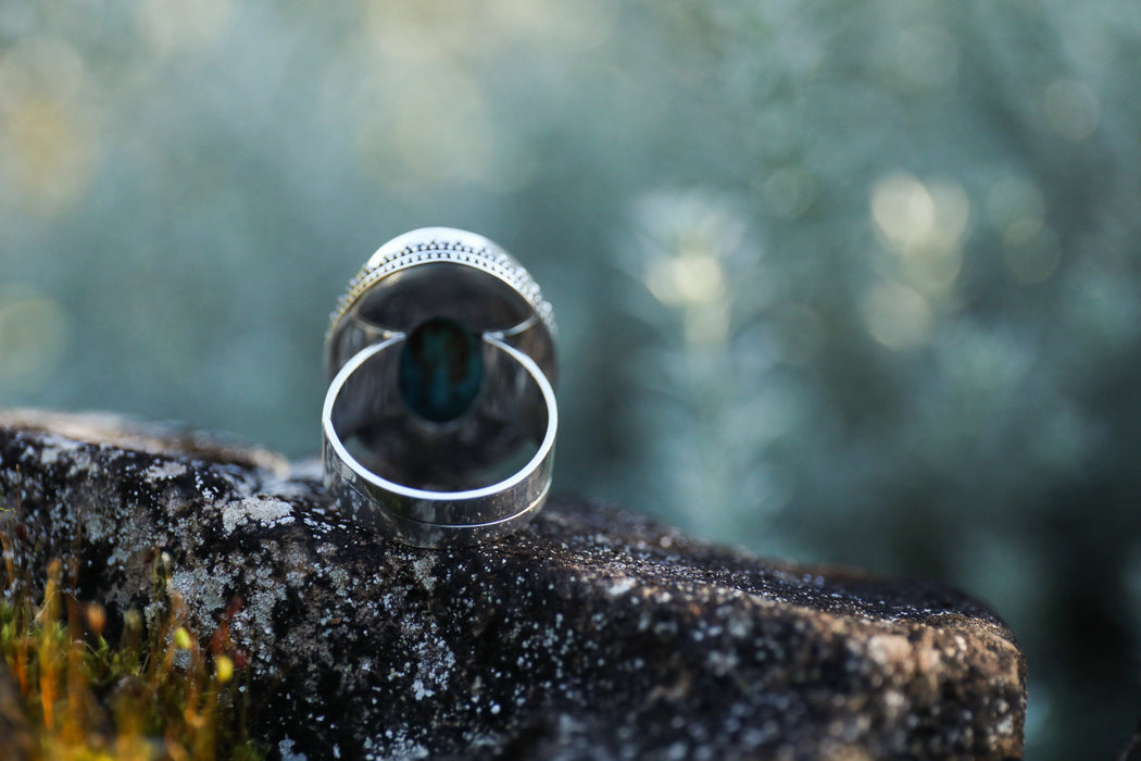 Lovely Teardrop Faceted Ocean Jasper Ring in Multi Band Sterling Silver - Jasper Jewellery - Gemstone Jewelry - Statement Ring