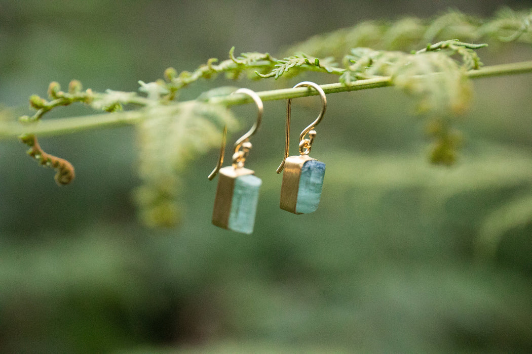 Gorgeous Raw Indicolite or Blue Tourmaline Earrings in Brushed Gold Plated Sterling Silver - Raw Gemstone Earrings - Rough Stone Jewelry