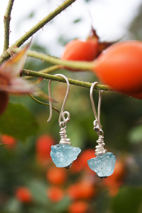 High Grade Raw Handmade Aquamarine Earrings with Thai Hill Tribe Silver Beads and Hooks - Rough Gemstone Jewelry - Aquamarine Jewellery