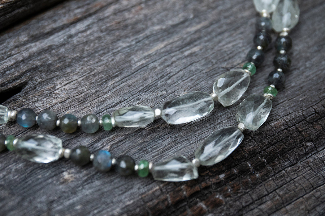 One of a Kind Statement Handmade Beaded Labradorite and Raw + Faceted Green Amethyst Mala Necklace with Thai Hill Tribe Silver