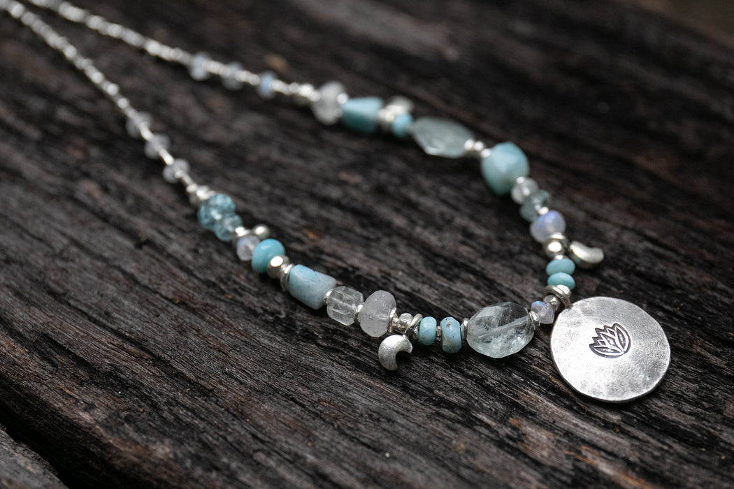 Sweet Larimar, Aquamarine + Rainbow Moonstone Necklace made with Thai Hill Tribe Silver, Lotus Pendant and Crescent Moon Charms - Jewellery