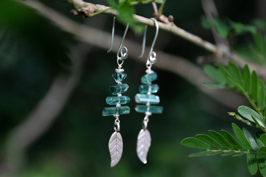 One of a Kind Raw Green Tourmaline Handmade Earrings with Pure Hill Tribe Silver Beads and Charms - Handmade Jewelry - Rough Gemstone