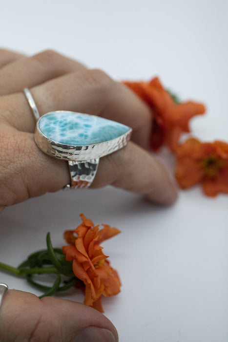 Statement Larimar Teardrop Ring set in Adjustable Beaten Sterling Silver Band - Dolphin Stone Jewellery - Pectolite Jewelry - Gemstone