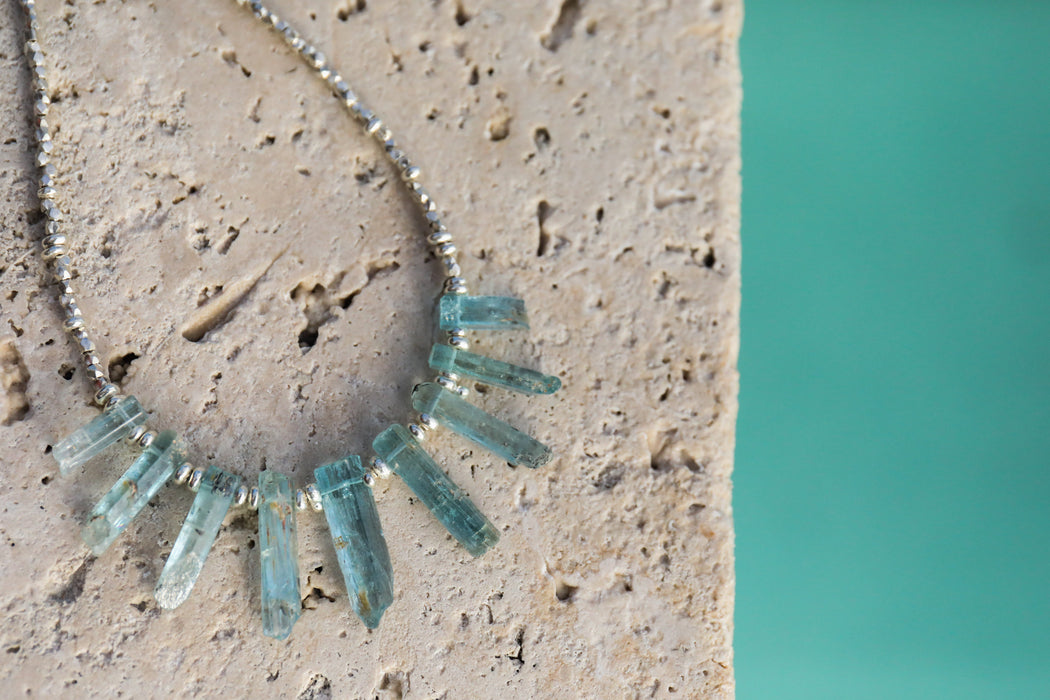 Core Sample Aquamarine Necklace with Thai Hill Tribe Silver Beaded Chain - Raw Gemstone Jewelry - Rough Aqua Jewellery