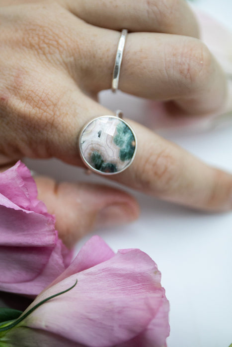 Reserved for Rayleen *** Gorgeous Round Pink and Green Faceted Ocean Jasper Ring with Sterling Silver Setting - Size 9 US