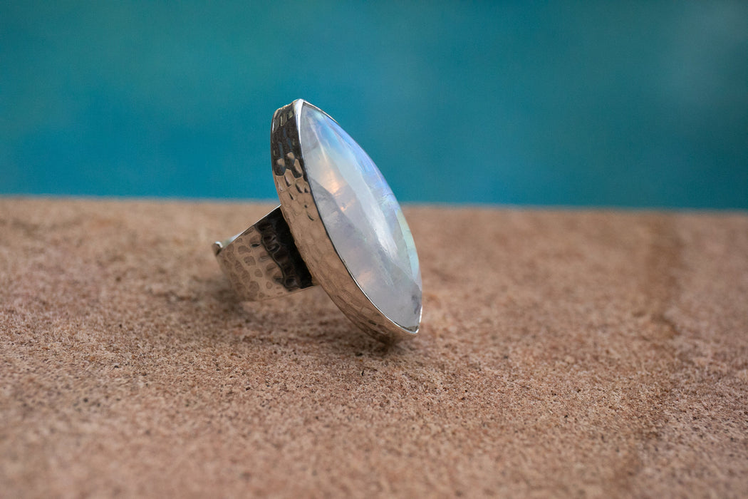 Statement Rainbow Moonstone Ring set in Beaten Sterling Silver with Adjustable Band - Moonstone Jewelry - Gemstone Ring