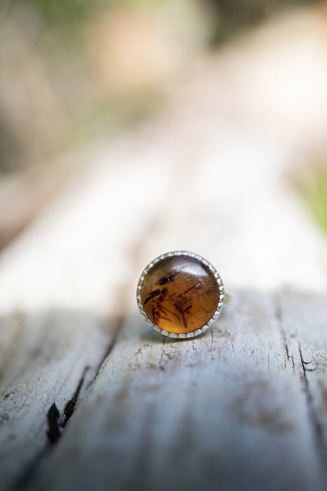 Lovely Genuine Mexican Amber Ring in Unique Sterling Silver Setting - Size 6.5 US - Amber Jewellery - Gemstone Jewelry