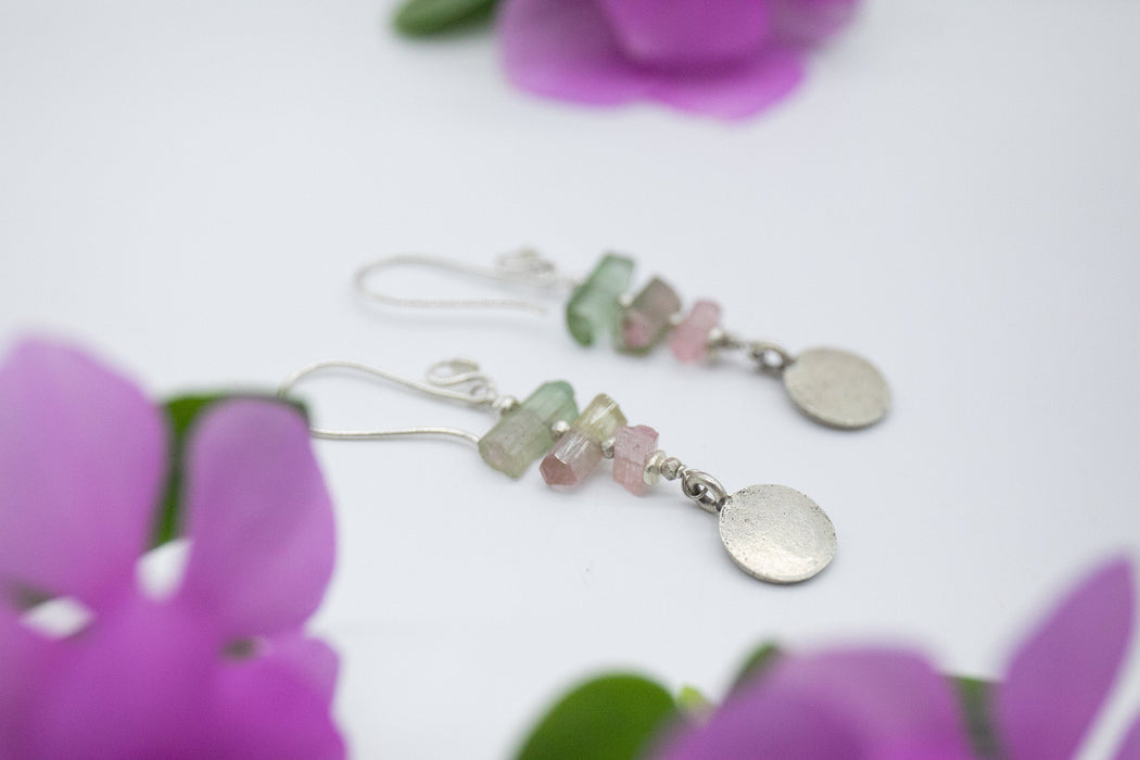 One of a Kind Raw Watermelon Tourmaline Earrings with Pure Hill Tribe Silver Beads and Lotus Charms - Handmade Earrings - Rough Gemstone