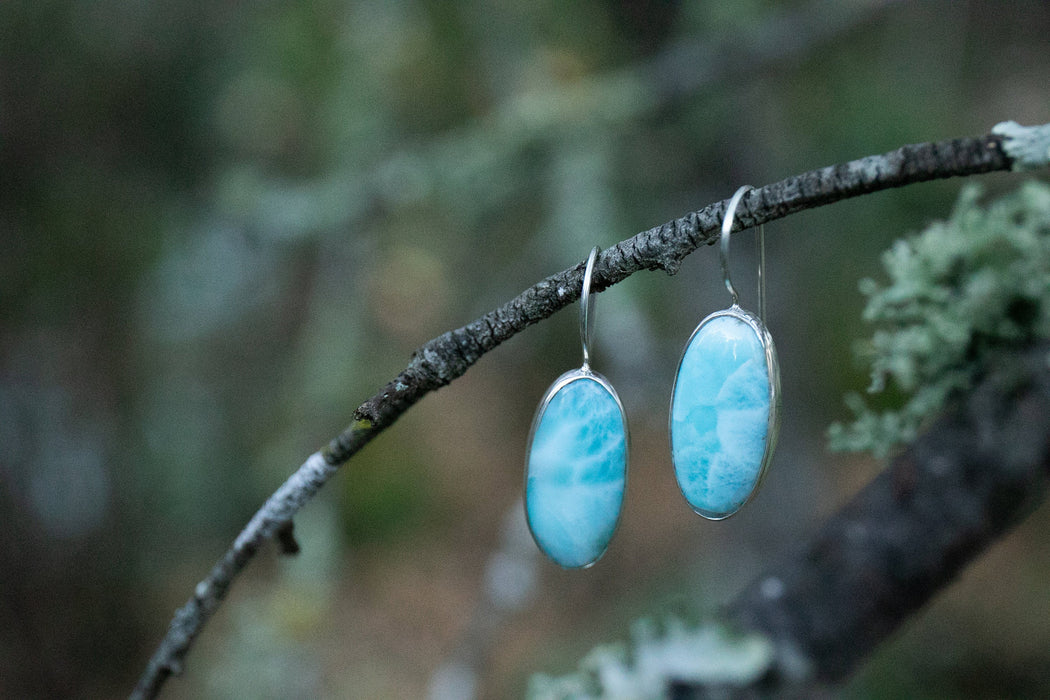 Stunning Oval Larimar Earrings set in Polished Sterling Silver - Dolphin Stone Jewelry - Gemstone Jewellery - Larimar Jewellery