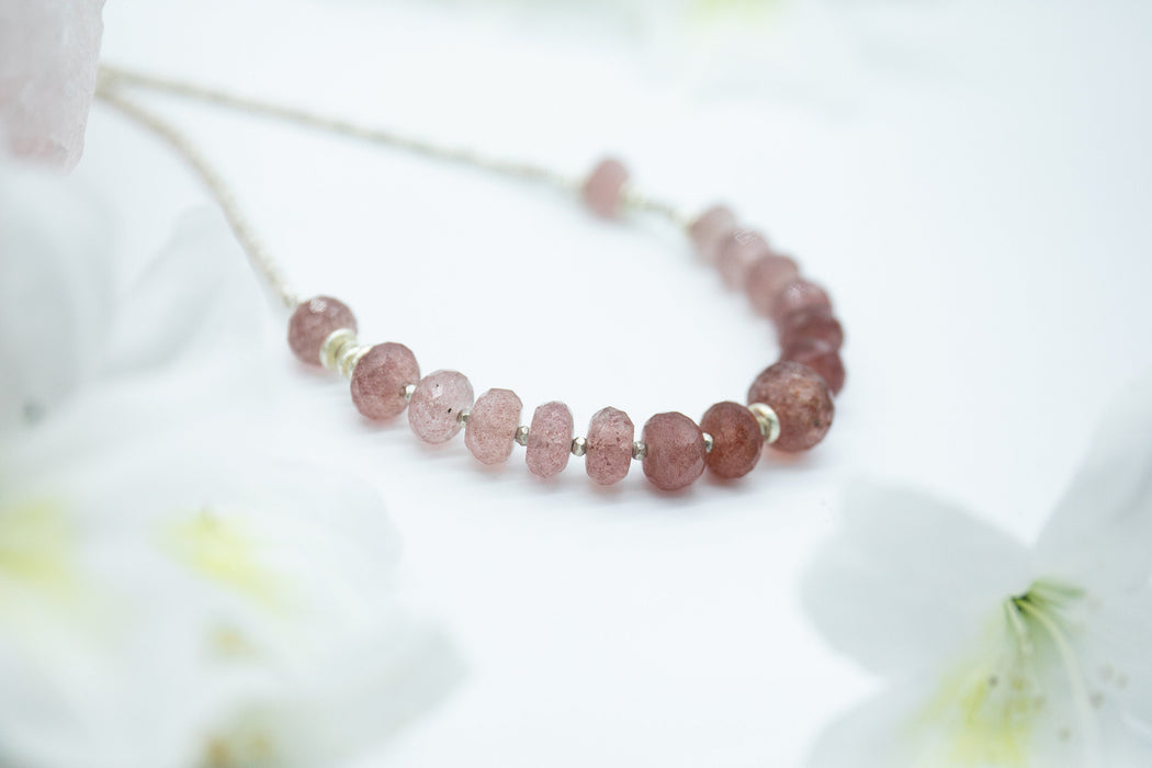 Handmade Beaded Cherry Quartz Necklace with Thai Hill Tribe Silver - Strawberry Quartz Necklace - Beaded Gemstone Jewellery - Jewelry