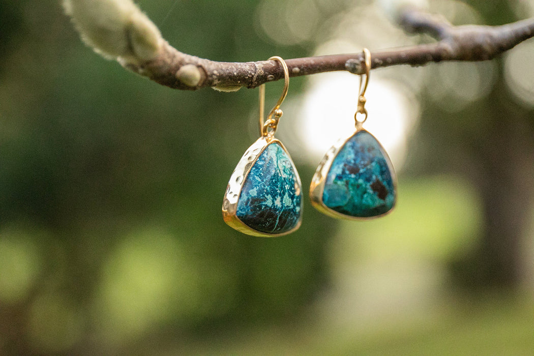 Gorgeous Chrysocolla Earrings set in Beaten Gold Plated Sterling Silver - Chrysocolla Jewellery - Gemstone Jewelry