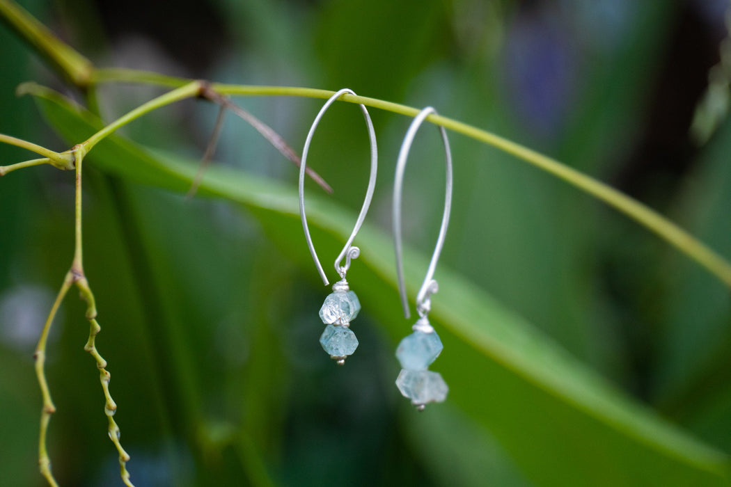 Unique Raw Core Sample Aquamarine Earrings on Long Thai Hill Tribe Silver Hooks - Statement Aquamarine Earrings - Gemstone Jewellery