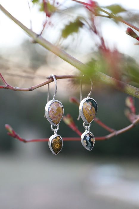 One of a Kind Faceted Ocean Jasper Double Teardrop Earrings set in Sterling Silver - Jasper Jewelry - Gemstone Jewellery