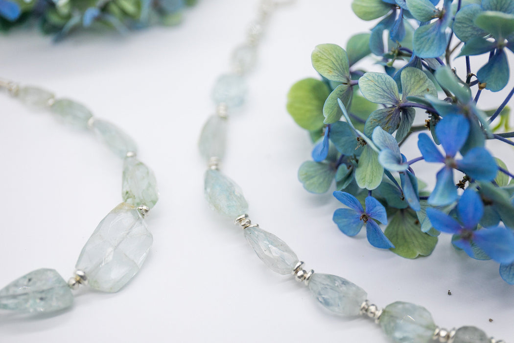 One of a Kind Step Cut Faceted High Grade Aquamarine Necklace with Thai Hill Tribe Silver Beads + Clasp - Aquamarine Necklace - Gemstone