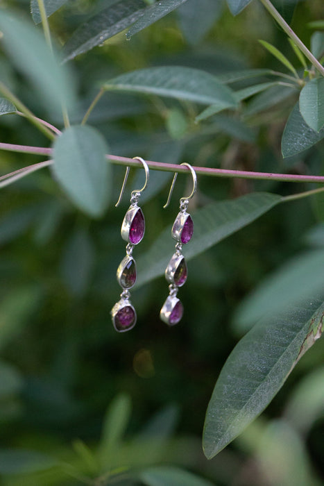 Rose Cut Triple Watermelon Tourmaline Earrings in 92.5% Sterling Silver - Gemstone Earrings - Gemstone Jewelry - Pink Tourmaline Jewellery